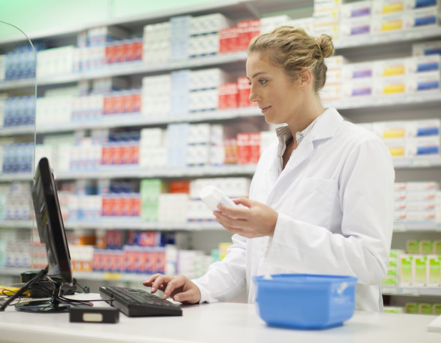 Pharmacist researching medication